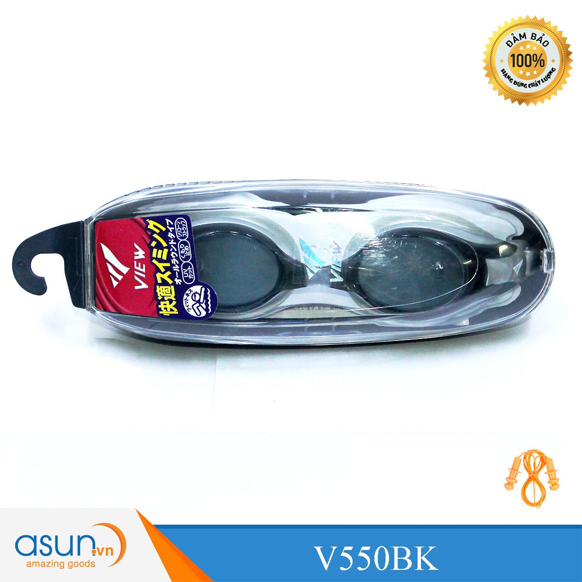Kính bơi Cao Cấp Chính Hãng Nhật Bản View Shinari V500 màu đen Đệm Bạc V500BKSIL