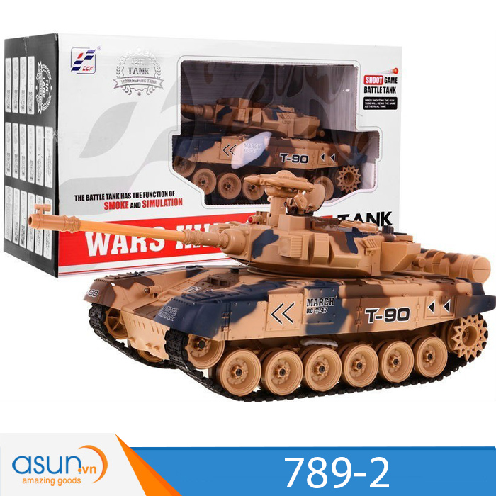 Xe Tank Điều Khiển Từ Xa Bắn Đạn và Có Khói 2.4Ghz T90 Mã 789-2 1:18