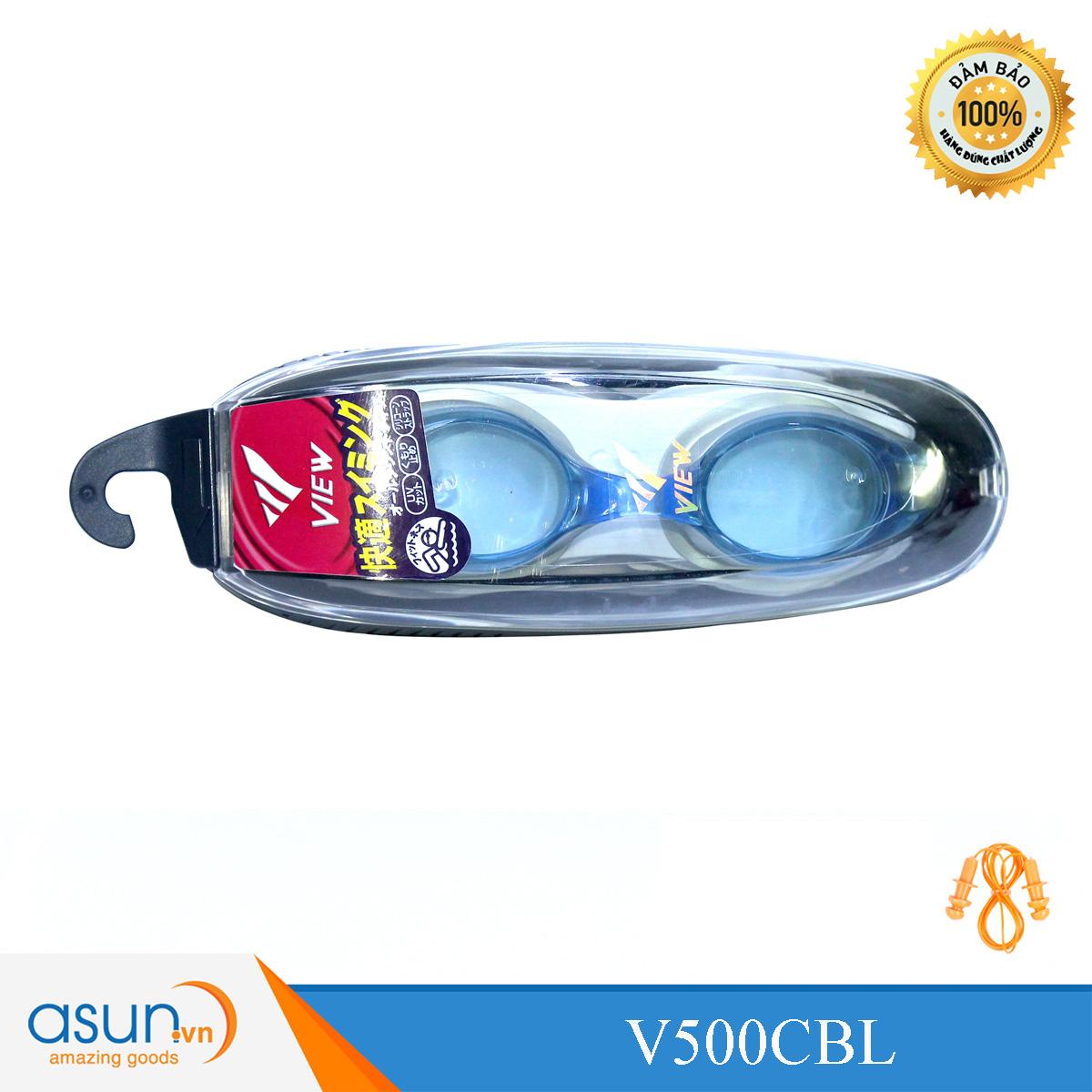 Kính bơi Chuyên Nghiệp Cao Cấp Chính Hãng Nhật Bản View Shinari V500 màu xanh đệm bạc V500CBL