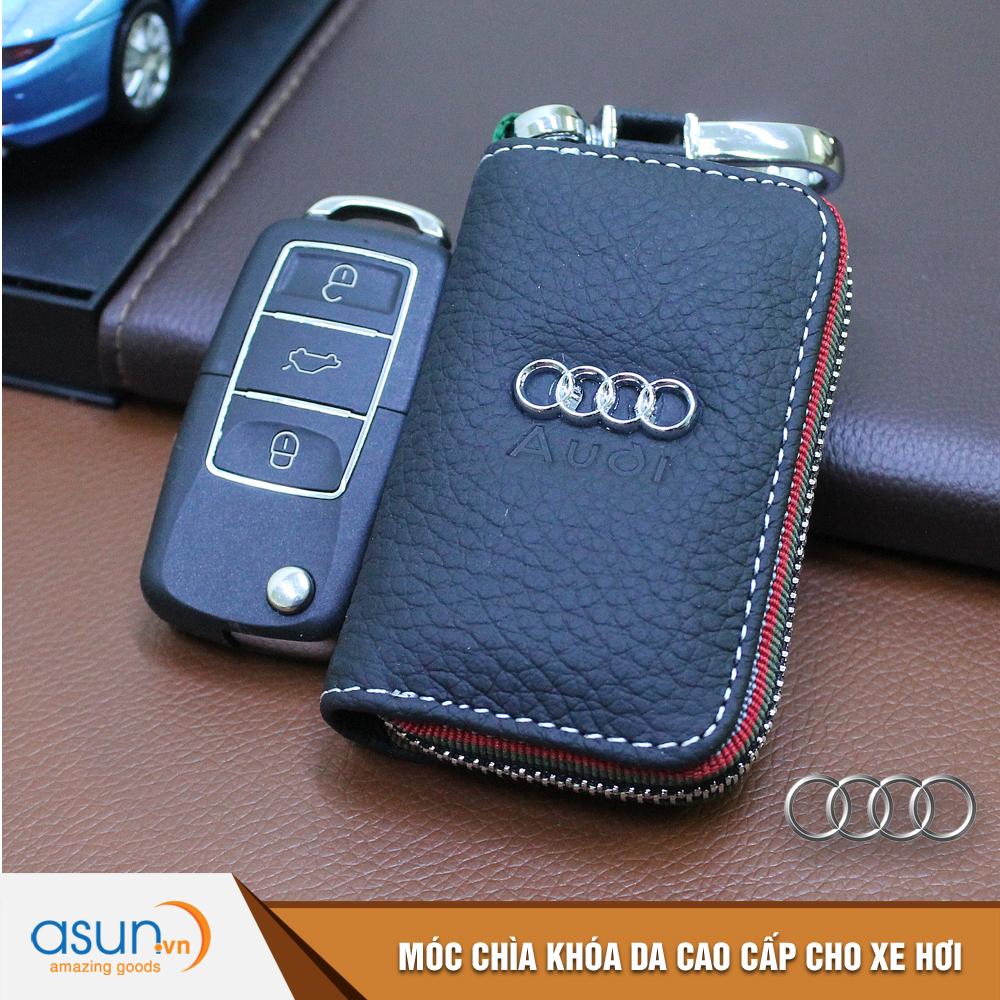 Bao da chìa khóa chất liệu cao cấp logo thương hiệu Audi cho xe hơi