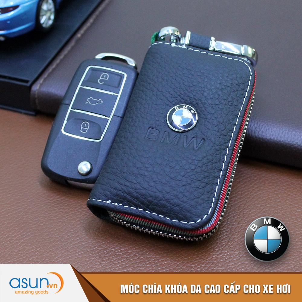 Bao da chìa khóa chất liệu cao cấp logo thương hiệu Bmw cho xe hơi