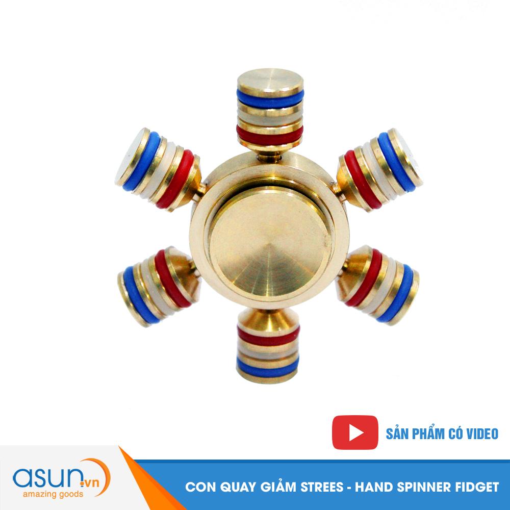 Con Quay Giảm Stress 6 Cánh Bằng Đồng Hand Spinner - Fidget Spinner Hot 2017