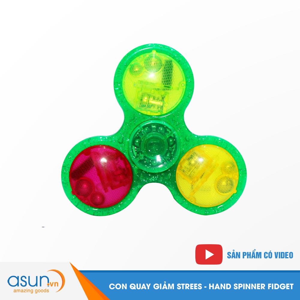 Con Quay Giảm Stress Đèn Led Trong Suốt Hand Spinner Xanh Lá - Fidget Spinner Hot 2017