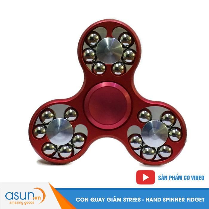 Con Quay Giảm Stress 3 Cánh Nhôm Có Bi 3 Cạnh Đỏ - Fidget Spinner