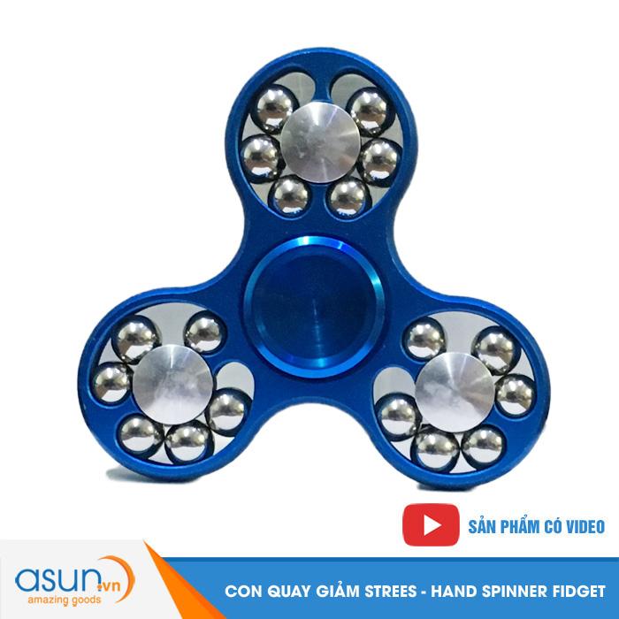 Con Quay Giảm Stress 3 Cánh Nhôm Có Bi 3 Cạnh Xanh - Fidget Spinner