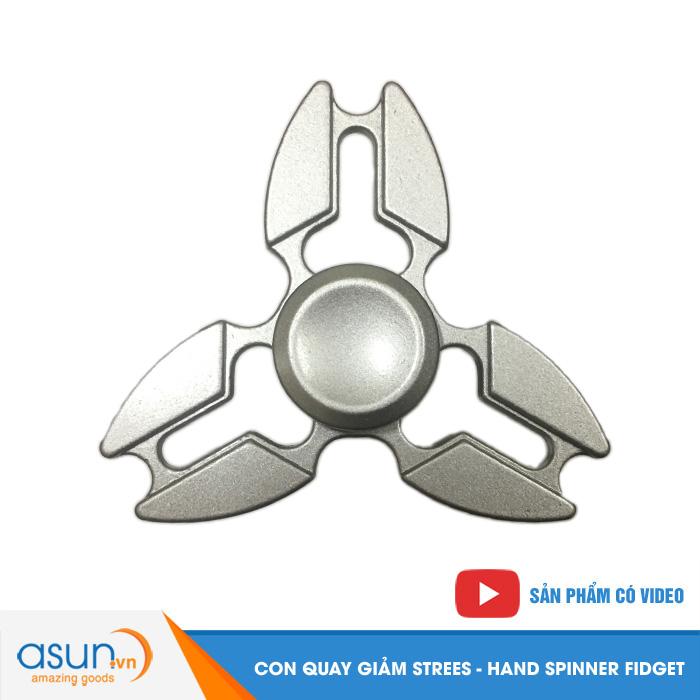 Con Quay Giảm Stress Sakura 3 Cánh Kim Loại Hand Spinner Bạc - Fidget Spinner