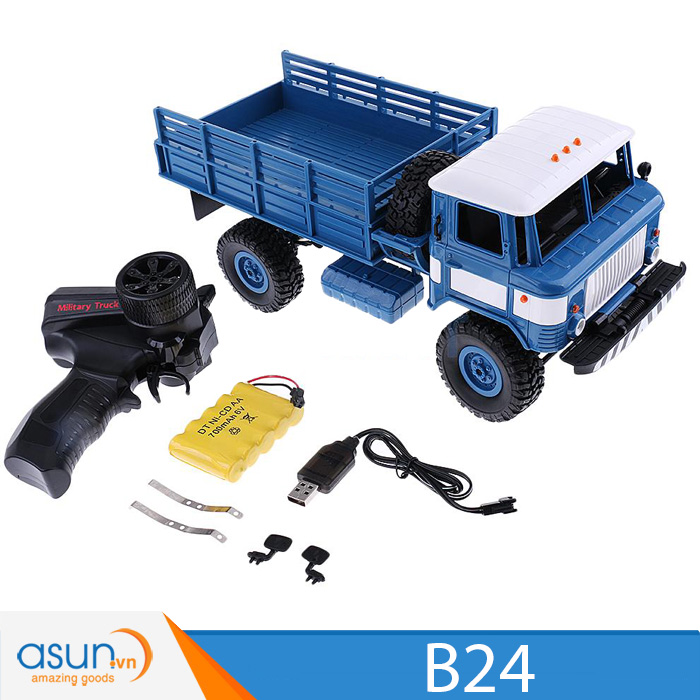 Xe Tải Quân Sự Mỹ Điều Khiển Từ Xa Military WPL B24 4WD 1:16 -Màu Blue quân sư
