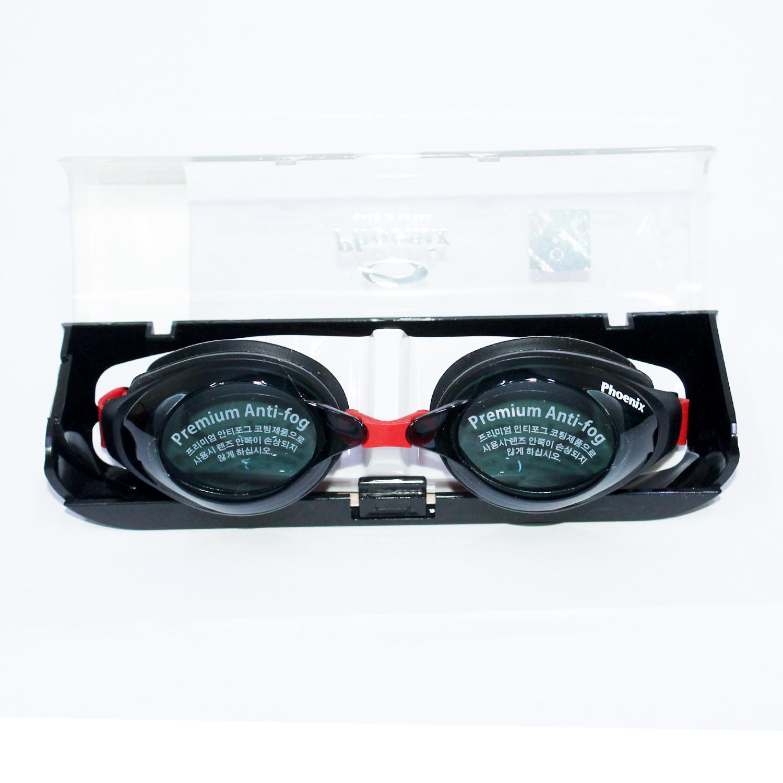 Kính bơi phoenix chuyên nghiệp Hàn Quốc màu đen viền đỏ PN1200-Blacklinered