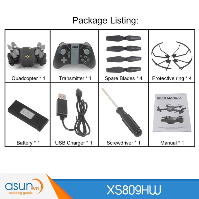 Máy Bay Điều Khiển Gấp Cánh XS809HW Quadcopter Wifi Camera