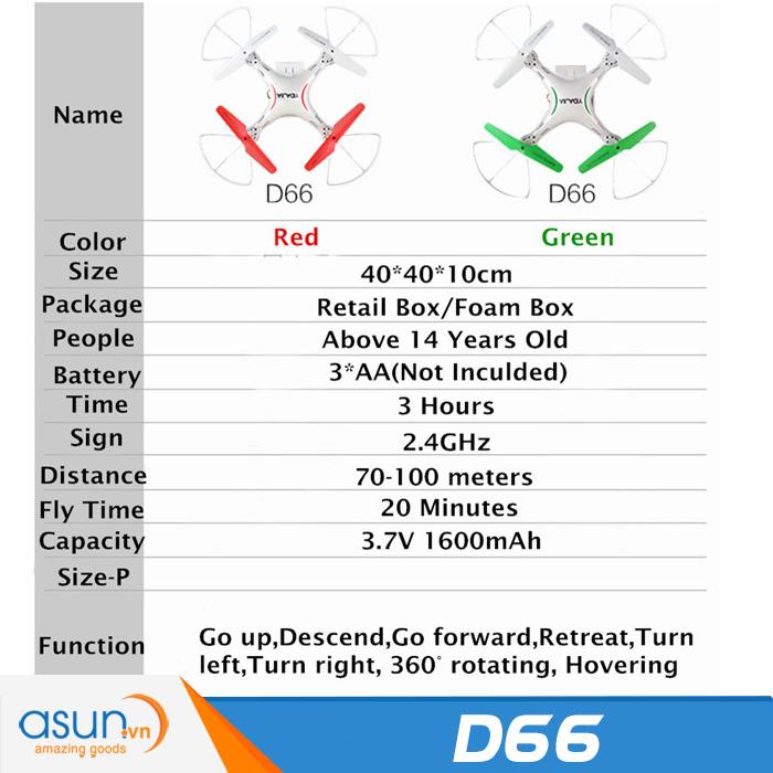 Máy Bay Điều Khiển Từ Xa D66WG Wifi Camera