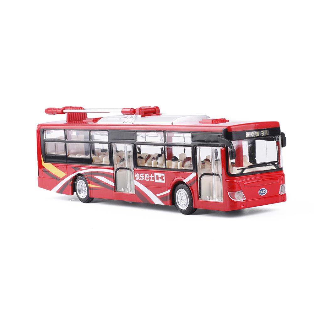 Xe Buýt Mô Hình Chạy Dây Cót Bằng Sắt CS0143 Đóng Mở Cửa Có Đèn Nhạc