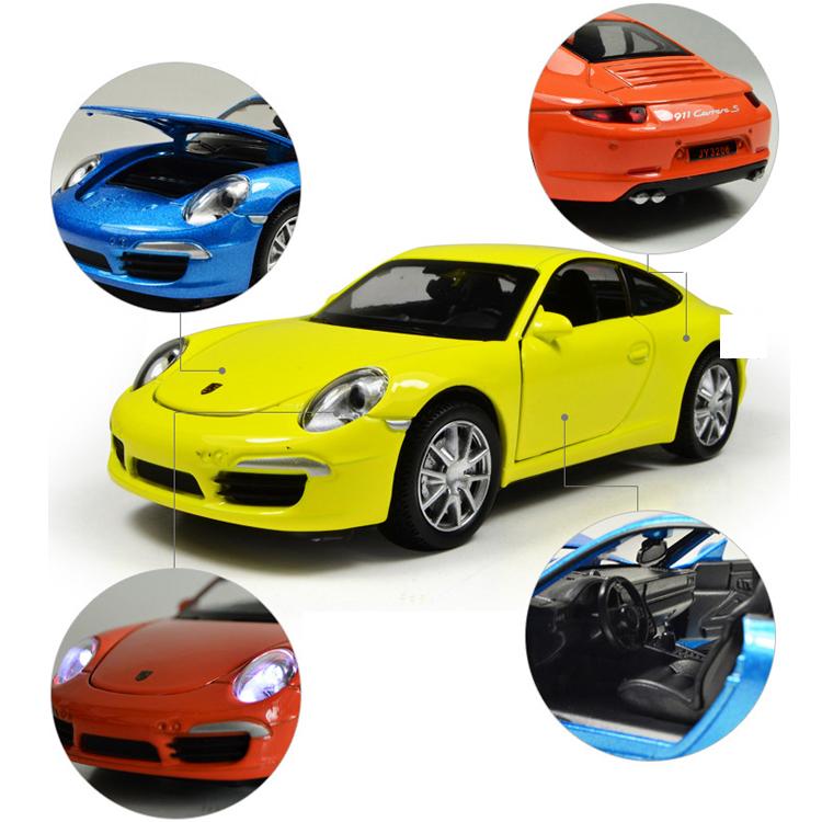 Xe Mô Hình Chạy Dây Cót Bằng Sắt 911 Carrera 32063 Đóng Mở Cửa Có Đèn Nhạc