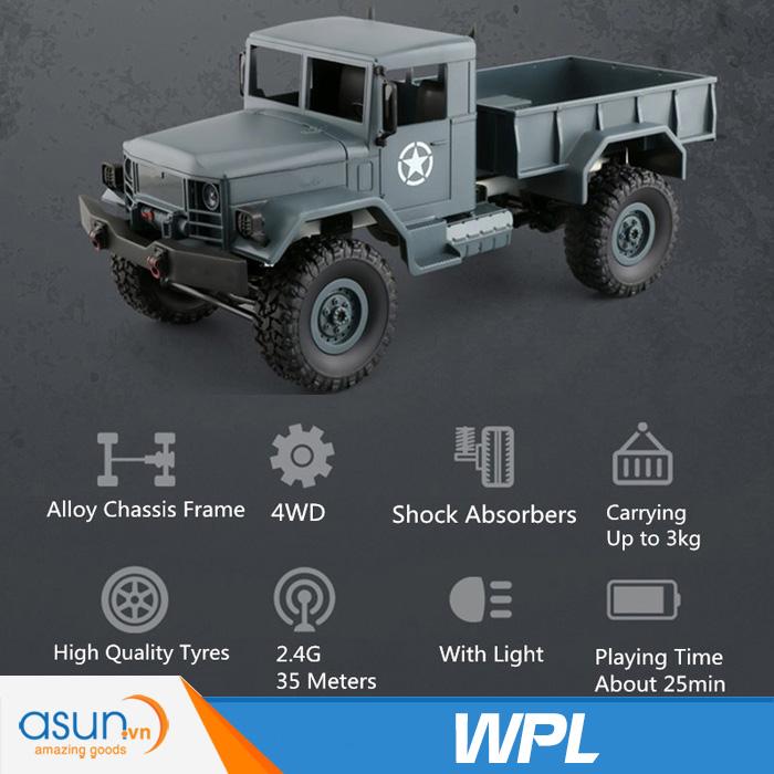Xe Tải Quân Sự Mỹ Điều Khiển Từ Xa Military WPL 4WD-Màu Xanh quân sư