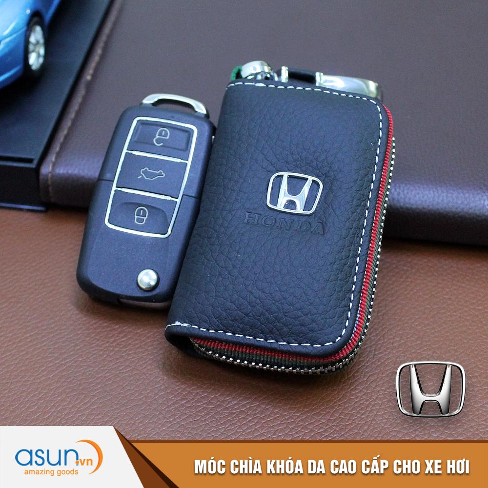 Bao da chìa khóa chất liệu cao cấp logo thương hiệu Honda cho xe hơi