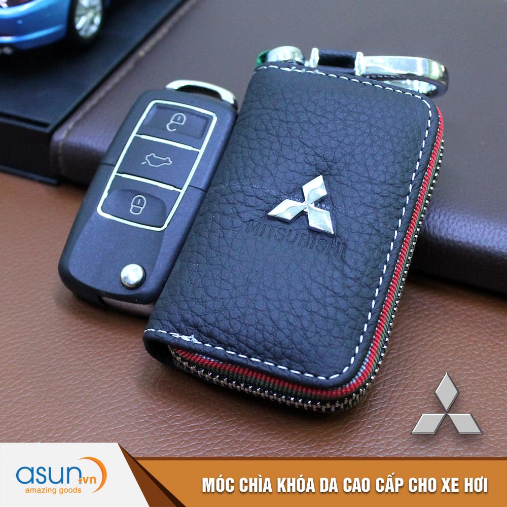 Bao da chìa khóa chất liệu cao cấp logo thương hiệu Mitsubishi cho xe hơi