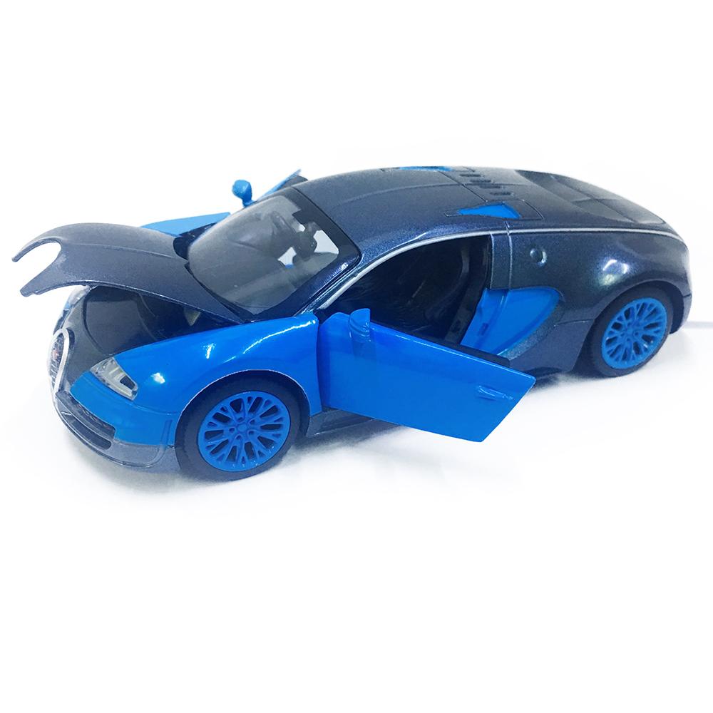 Xe Mô Hình Chạy Dây Cót Bằng Sắt Bugatti 32043 Đóng Mở Cửa Có Đèn Nhạc