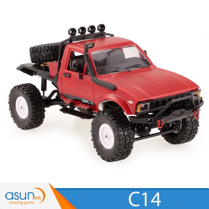Xe Tải Quân Sự Mỹ Điều Khiển Từ Xa Military WPL C14 4WD 1:16 -Màu Đỏ