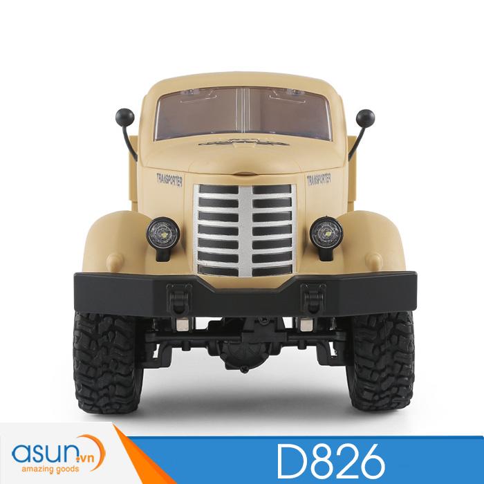 Xe Tải Quân Sự Mỹ Điều Khiển Từ Xa JJRC D826 vàng 6WD 1:16 có Visai