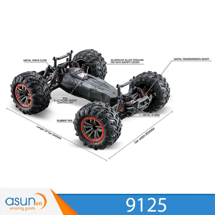 Xe Điều Khiển Địa Hình 9125 4WD Off Road Chống Nước IPX4 46Km 1:10