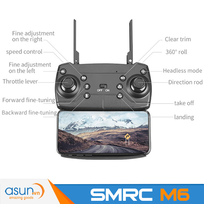Máy Bay Điều Khiển Flycam Drone SMRC M6 Camera 4K HD 2 CamSMRCM6