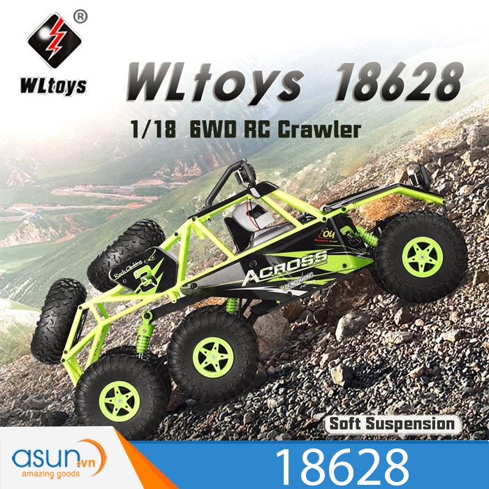 Xe Điều Khiển Địa Hình Rock Crawler Wltoys 18628 RC 6WD 6x6 Có đèn led Xanh