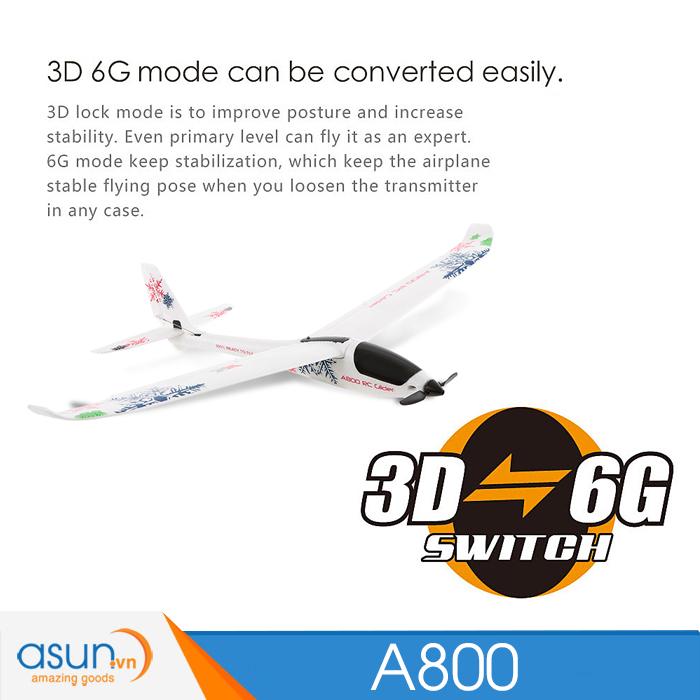 Máy Bay Cánh Bằng Điều Khiển Từ Xa XK A800 3D 6G 5CH Sải cánh 78 cm