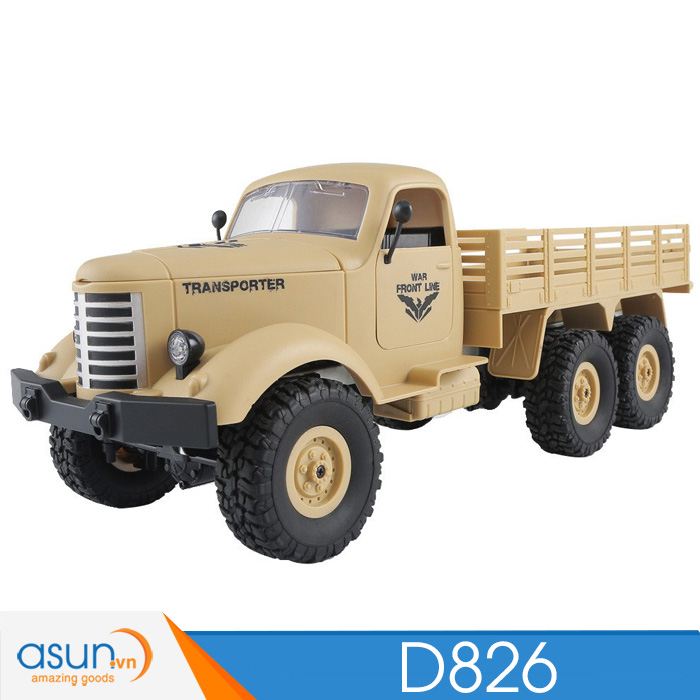Xe Tải Quân Sự Mỹ Điều Khiển Từ Xa JJRC D826 6WD 1:16 có Visai