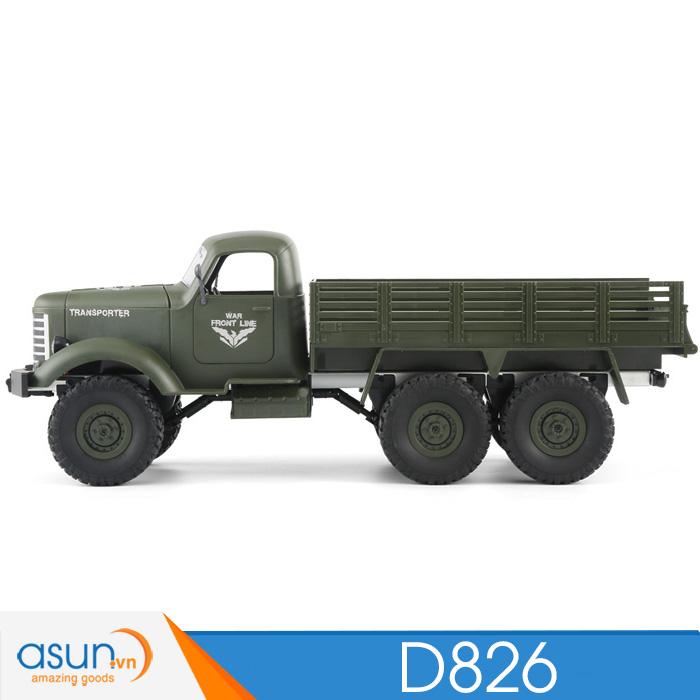 Xe Tải Quân Sự Mỹ Điều Khiển Từ Xa JJRC D826 Xanh 6WD 1:16 có Visai