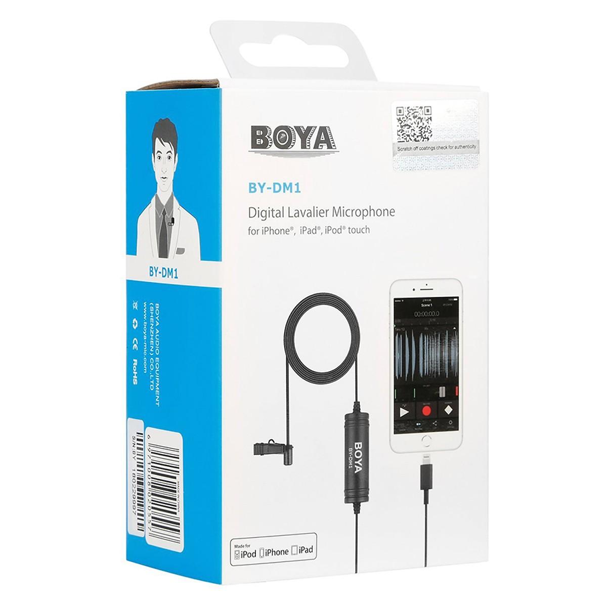 Micro thu âm kỹ thuật số cài áo Boya BY-DM1 cổng Lightning
