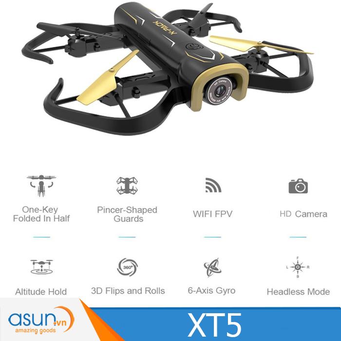 Máy Bay Điều Khiển Gấp Cánh Drone  XT5 Camera Wifi 720HD Tự Giữ Độ Cao