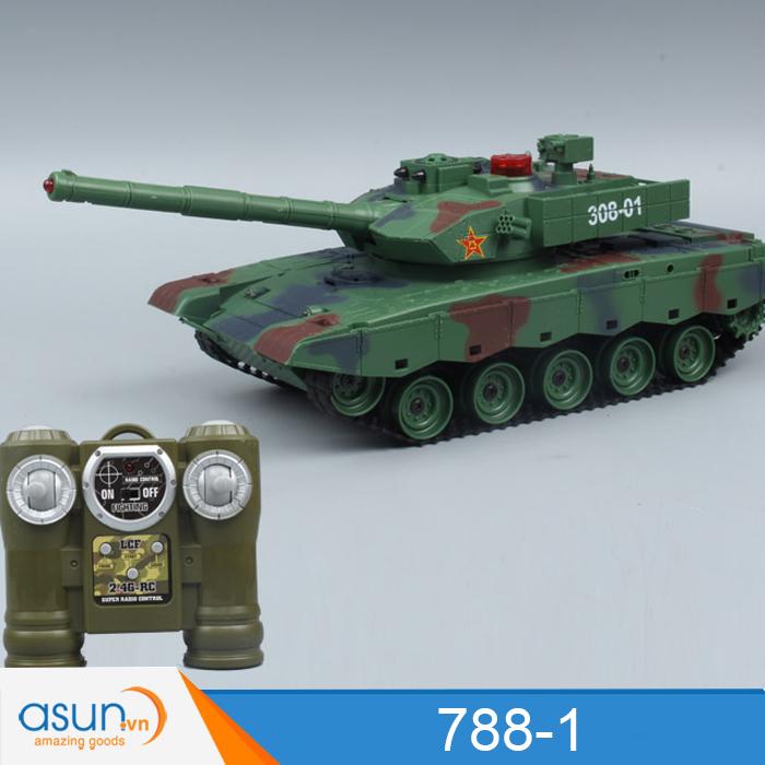 Bộ 2 Xe Tank Điều Khiển Từ Xa Bắn Nhau và Có Khói 2.4Ghz 788-1 1:18