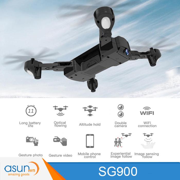 Máy Bay Điều Khiển Gấp Cánh Drone SG900 WIfi Camera Tự Giữ Độ Cao Pin trâu 22 phút