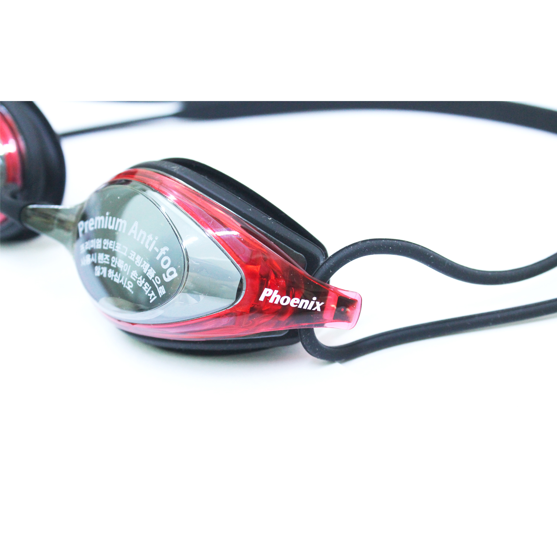 Kính bơi Phoenix Hàn Quốc Chuyên Nghiệp PN802 Có Tráng Gương màu đen viền đỏ  P802MRBKRD