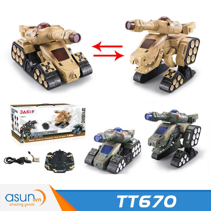 Khủng Long Robot Điều Khiển Biến Hình Xe Tank TT670