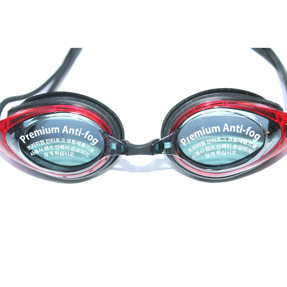 Kính bơi Phoenix Hàn Quốc Chuyên Nghiệp PN802  màu đen viền đỏ  Không Tráng Gương P802BKRD