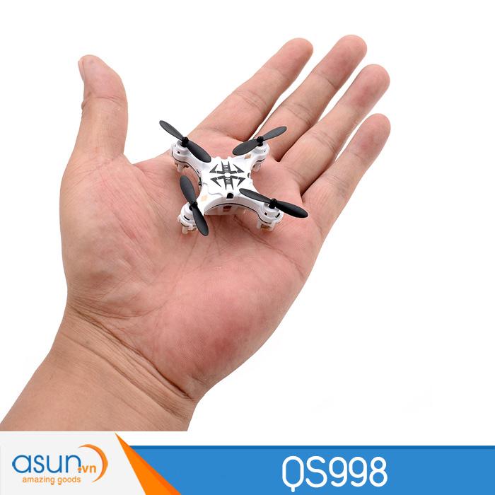 Máy Bay Mini Điều Khiển Từ Xa QS998 Trắng Nhào lộn