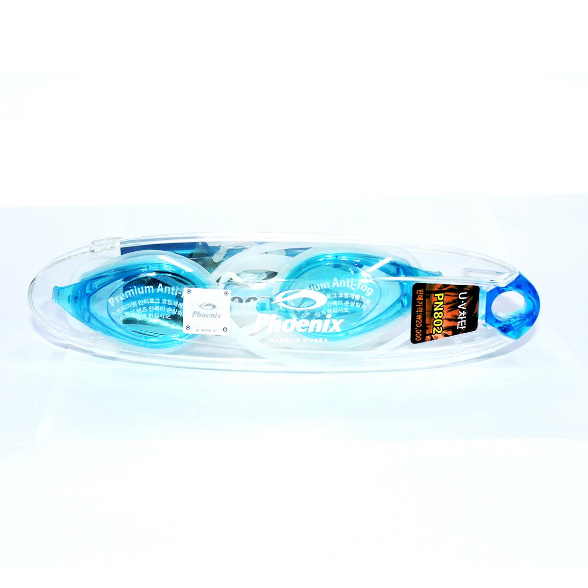 Kính bơi Phoenix Hàn Quốc Chuyên Nghiệp Không Tráng Gương PN802  màu xanh nhạt P802AQ