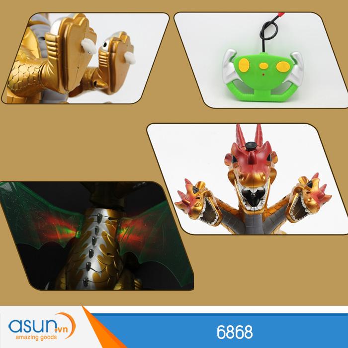 Chú Rồng 3 Đầu Điều Khiển Từ Xa Phun Khói 6868