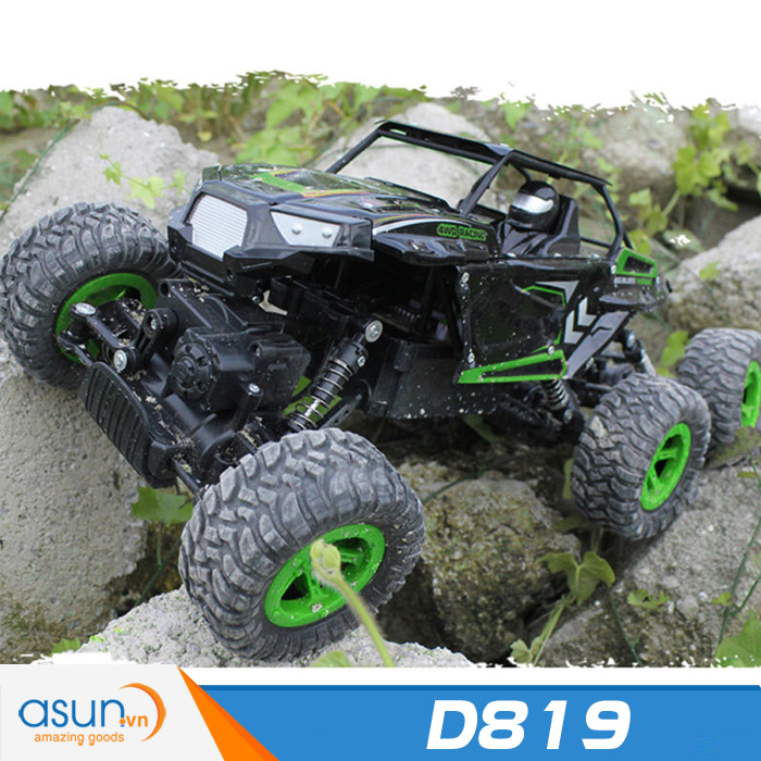 Xe  Điều Khiển Địa Hình Rock Crawler D819 6 Bánh Chuyển Động Xanh