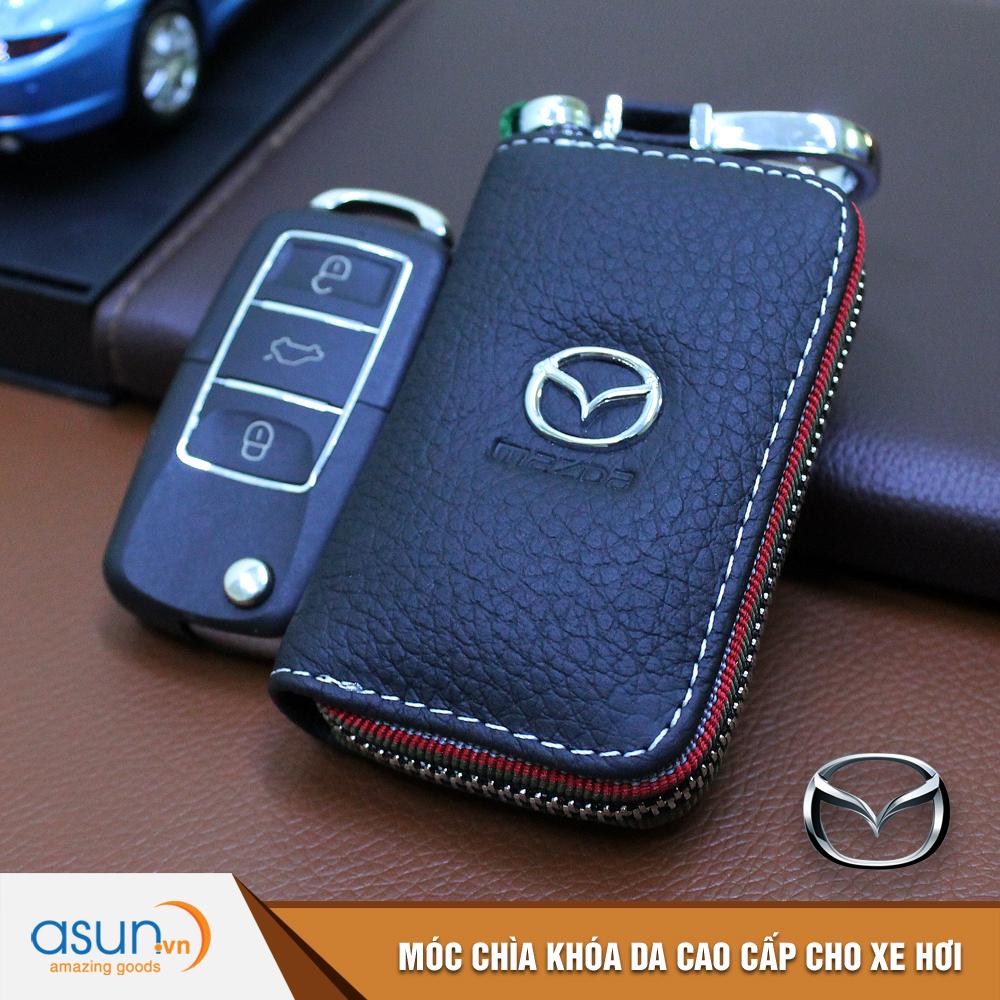 Bao da chìa khóa chất liệu cao cấp logo thương hiệu Mazda cho xe hơi