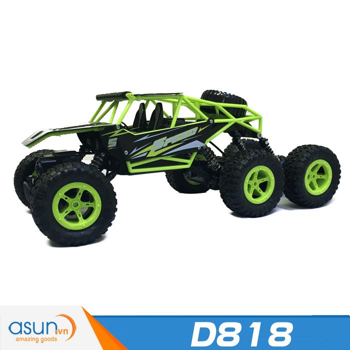 Xe  Điều Khiển Địa Hình Rock Crawler D818 6 Bánh Chuyển Động xanh lá